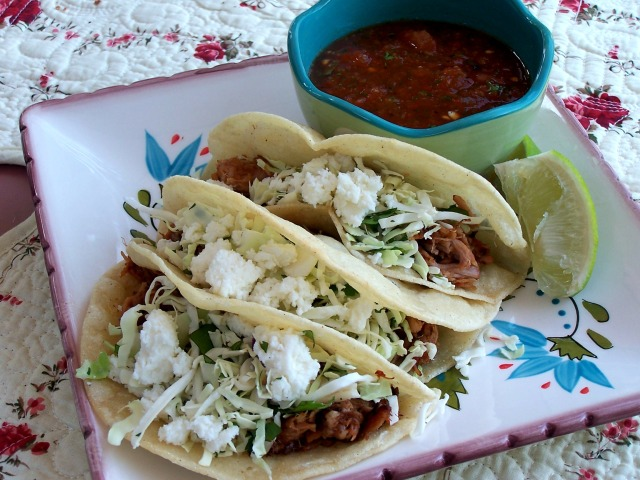 Slow cooker mexican pork tacos with cilantro slaw