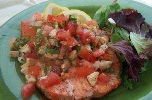 Grilled Salmon topped with Fresh Tomato and Basil Bruschetta
