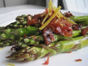 Roasted Asparagus with Crispy Pancetta in a Lemon Vinaigrette