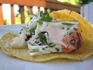 Grilled Salmon Tacos with Cilantro Slaw