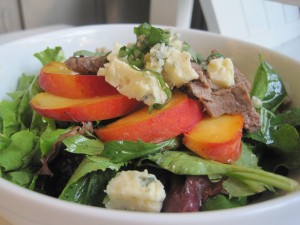 Grilled Steak Salad with Fresh Peaches and Smoky Bleu Cheese Vinaigrette