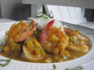 Tropical Shrimp Curry over Coconut Rice