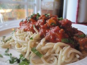 Weeknight Ragu over Jovial Brown Rice Pasta