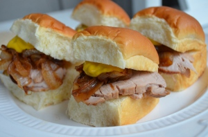 Asian Marinated Pork Tenderloin Sliders with Sweet Onions and Hot Mustard