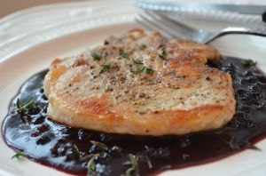 Huckleberry Barbeque Sauce with Thin Cut Pork Loin Chops