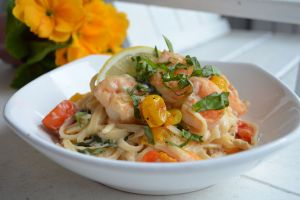Shrimp Scampi Linguine with Roasted Cherry Tomatoes, Fresh Basil and Lemon