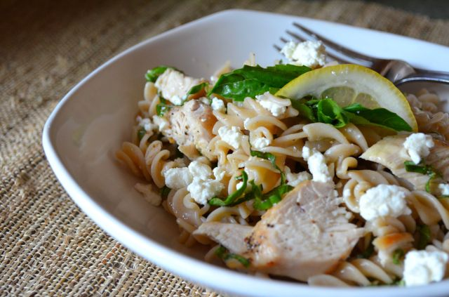 Lemon Basil Chicken Fusilli Pasta