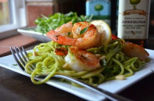 Shrimp Linguine with Fresh Arugula Lemon Pesto