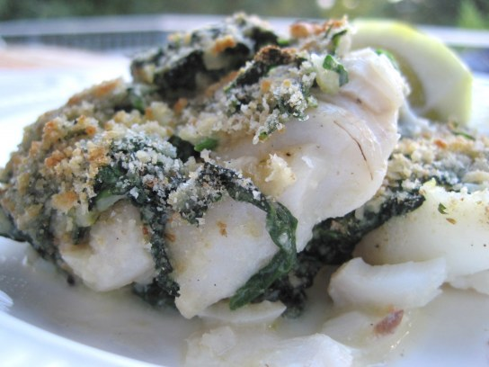 White fish baked in Spinach, Dijon, cream, panko and parmesan