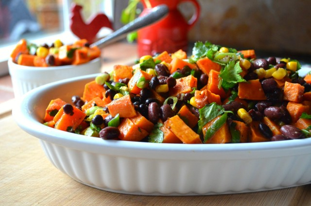roasted sweet potatoes, black beans, and corn with green onions and cilantro