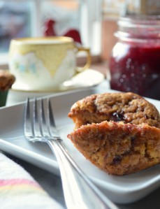 jam filled muffins prepared with Einkorn wheat flour