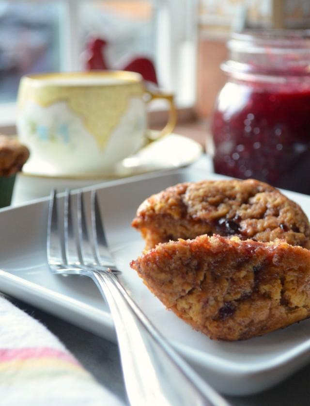 jam filled muffins prepared with Einkorn wheat flour