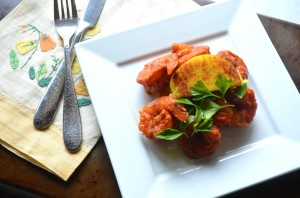 Moroccan Shrimp with Polenta Cakes