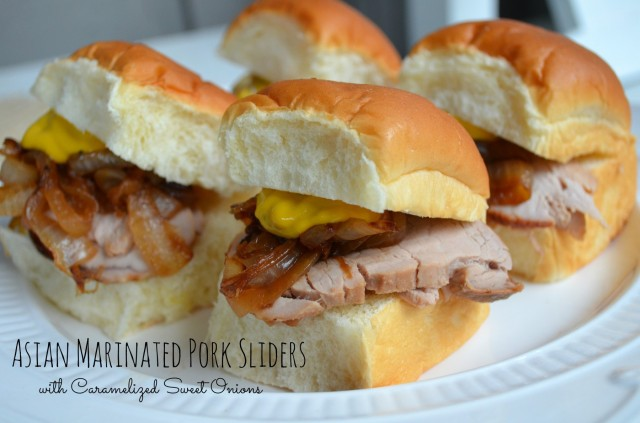 Asian marinated pork tenderloin sliders with caramelized onions