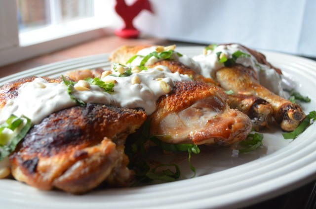 Roasted chicken with cardamom and ginger spiced yogurt sauce