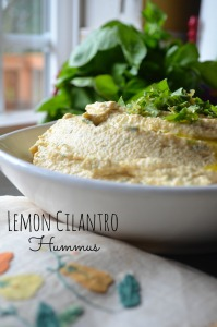 lemon, cilantro, olive oil, garlic, hummus