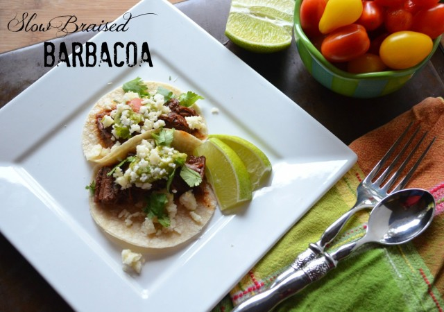 slow braised barbacoa with cucumber avocado salsa