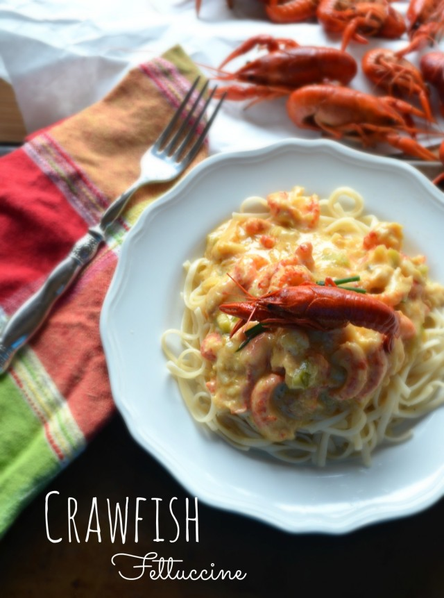 crawfish fettuccine with white wine bechamel sauce