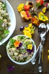 quinoa salad with fresh herbs, aromatics and Asian dressing