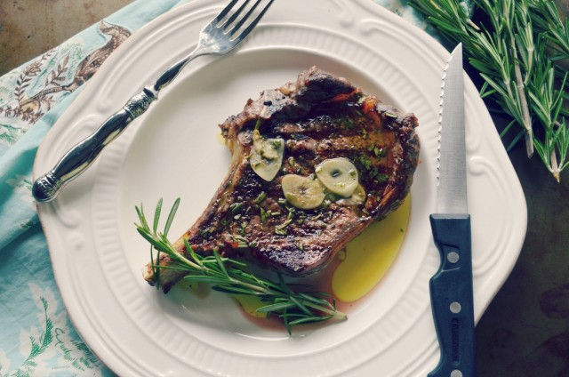 Tuscan grilled ribeye with garlic and rosemary