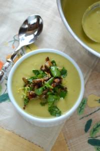 Asparagus Leek Soup with Mushroom Gremolata