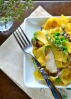 spring peas and mushroom pappardelle in sherry cream sauce
