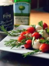 Caprese Rosemary Skewers drizzled with Olive Oil and Balsamic Vinegar