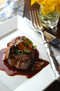 Pan seared beef tenderloin with madeira wine sauce