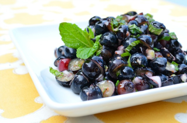 fresh blueberry ginger salsa with shallots and mint